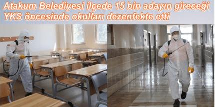 Atakum Belediyesi YKS Öncesi Okulları Dezenfekte Etti