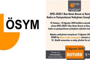 KPSS-2020/1 Yerleştirme Sonuçları Açıklandı