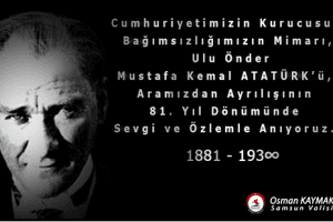 Vali Osman Kaymak'tan '10 Kasım' Mesajı