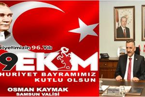 Vali Kaymak'tan '29 Ekim Cumhuriyet Bayramı' Kutlama Mesajı