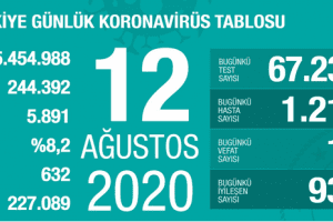 Günlük Koronavirüs Tablosu 12 Ağustos 2020