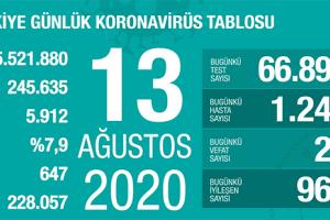 Günlük Koronavirüs Tablosu 13 Ağustos 2020