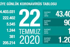 Günlük Koronavirüs Tablosu 22Temmuz 2020