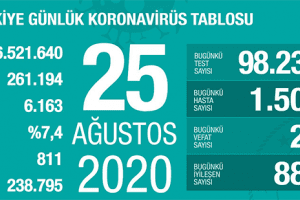 Günlük Koronavirüs Tablosu 25 Ağustos 2020