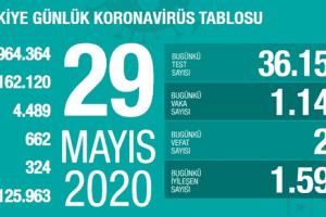 Koronavirüs Tablosu 29 Mayıs 2020