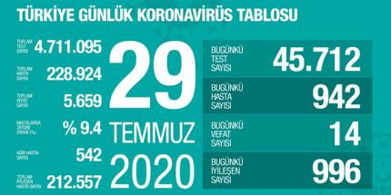 Günlük Koronavirüs Tablosu 29Temmuz 2020