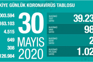 Koronavirüs Tablosu 30 Mayıs 2020