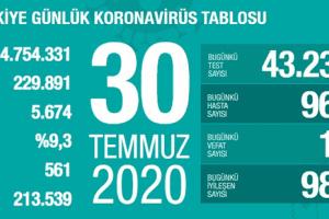 Günlük Koronavirüs Tablosu 30Temmuz 2020