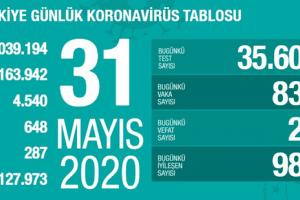 Koronavirüs Tablosu 31 Mayıs 2020