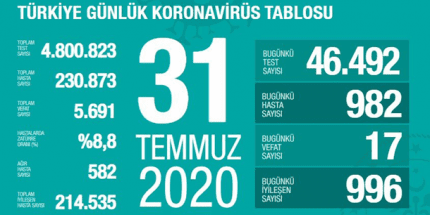 Günlük Koronavirüs Tablosu 31Temmuz 2020