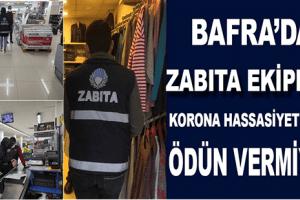 Bafra Belediyesi Zabıta Ekipleri Korona Hassasiyetinden Ödün Vermiyor