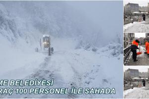 Terme'de Aralıksız Kar Mesaisi