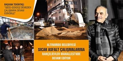 Altınordu'da Çalışmalar Gece Gündüz Devam Ediyor