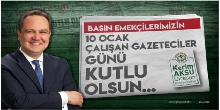 Başkan Kerim Aksu Gazeteciler Gününü Kutladı