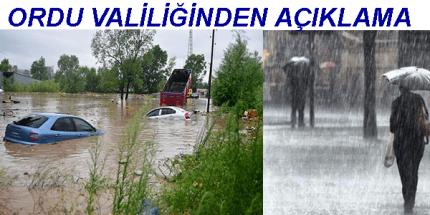 Ordu Valiliğinden Yağış ve Sel Açıklaması