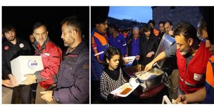 Afrin'in Köylerindeki Ailelere Sıcak Yemek İkramı