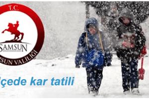 Samsun'un Altı İlçesinde Kar Tatili